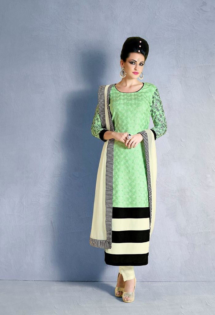 Heavy Embroidered Schiffli Work Salwar Kameez