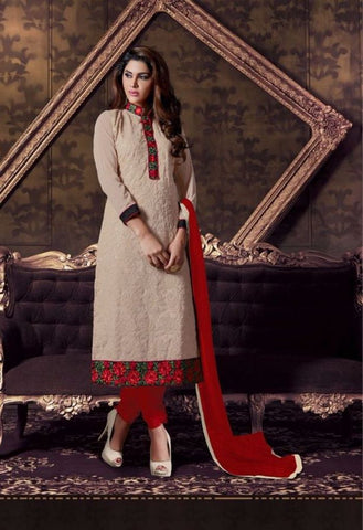 Cream Color Designer Salwar Kameez Made With Georgette