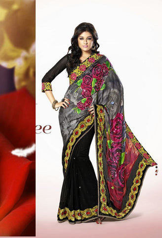 Partywear Designer Saree Made With Satin and Net