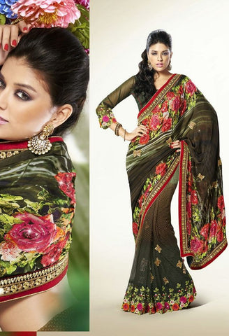 Partywear Designer Saree Made With Satin & Net