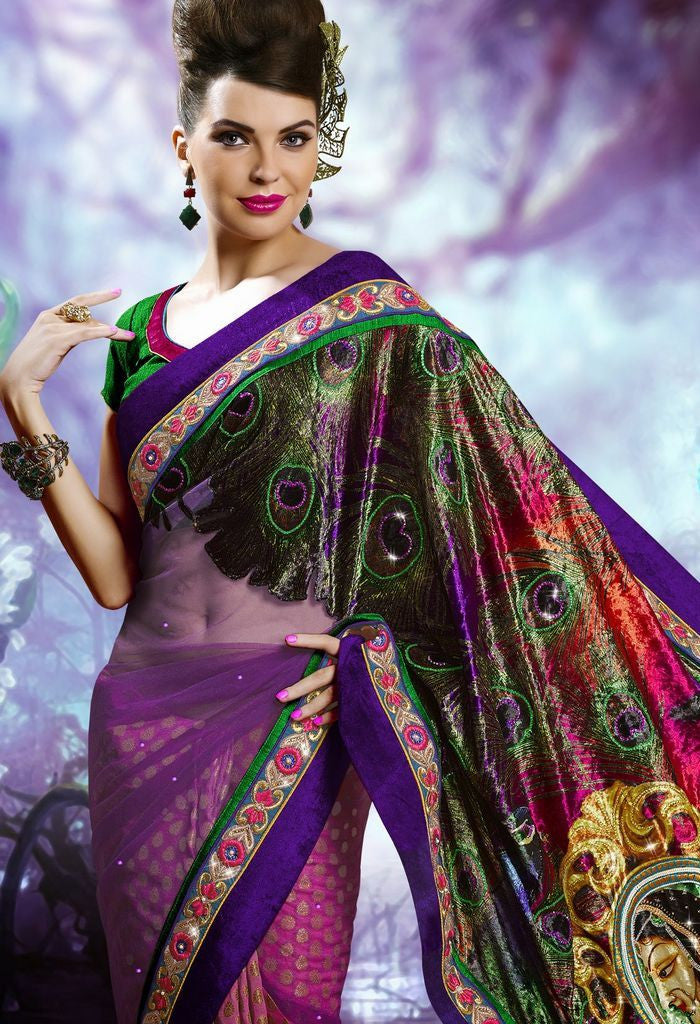 Partywear Designer Saree Made With Net & Velvet