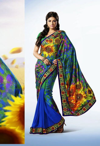 Partywear Designer Saree Made With Satin & Faux Chiffon