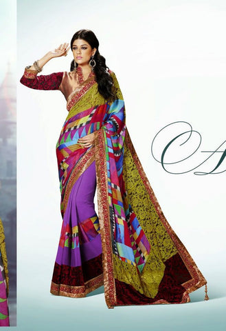 Partywear Designer Saree Made With Net Jacquard & Satin