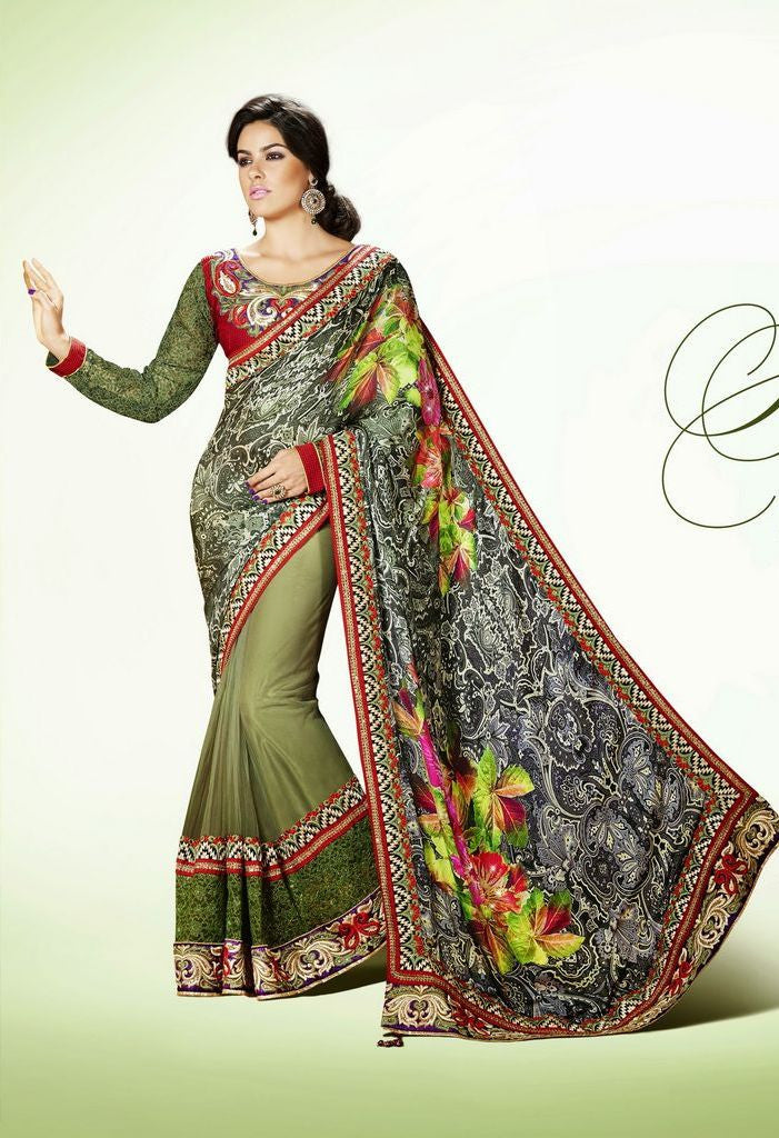Partywear Designer Saree Made With Satin & Net Jacquard
