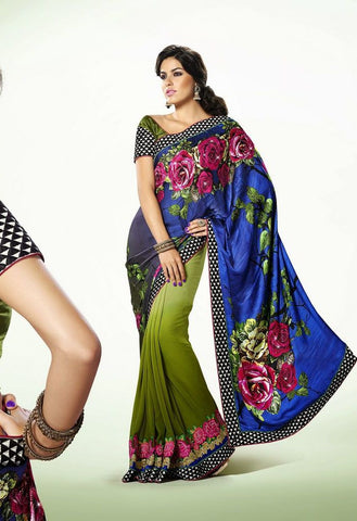 Partywear Saree Made With Satin & Faux Georgette