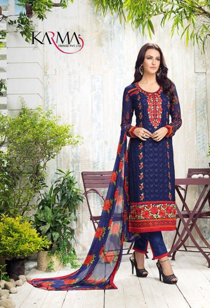 Blue Georgette Salwar Kameez With Printed Dupatta