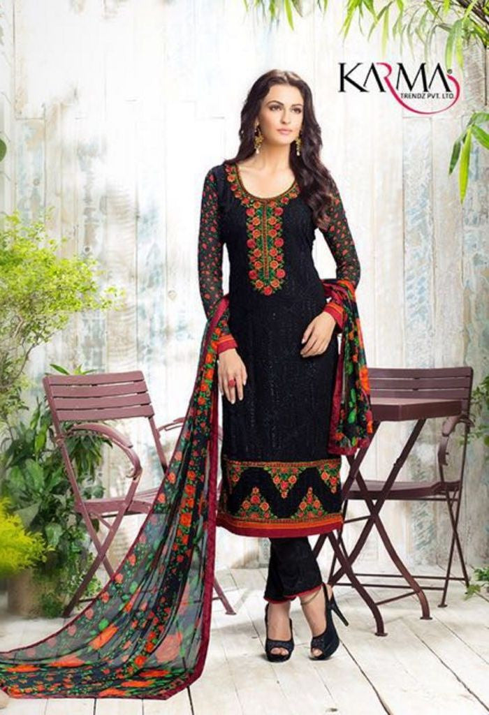 Black Georgette Salwar Kameez With Printed Dupatta