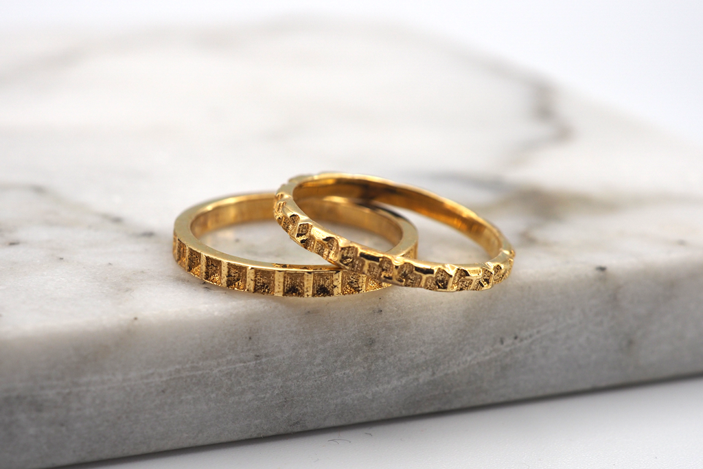 Jewelry - Geometric Stack Rings Set 2 - Square and Tetris - Two Perfect Souls