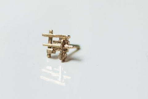 Raw Brass - Squares and Bars Earring