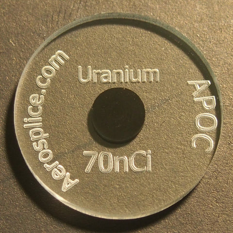 70nCi (0.1 gram) Natural Uranium Radiation Detector Check Source Disk
