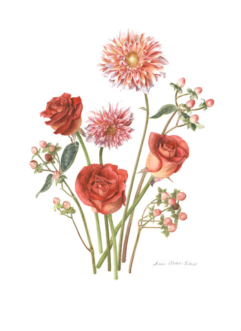 "c.  Pink Bouquet Limited Edition Print, 12"" x 16"""