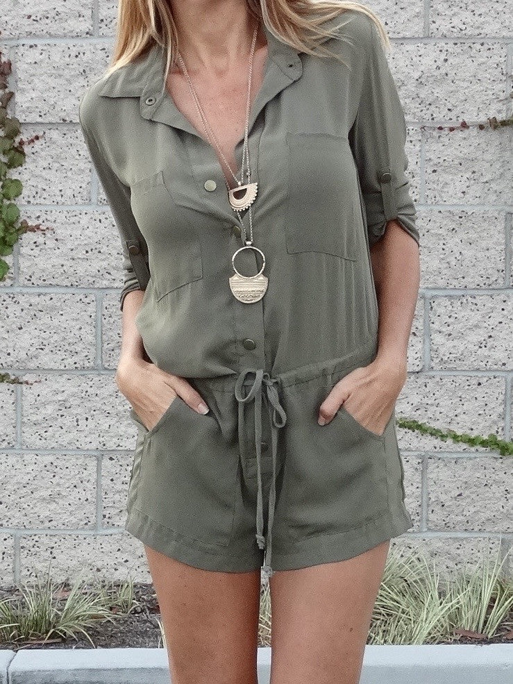 Forget Me Not Romper - Olive