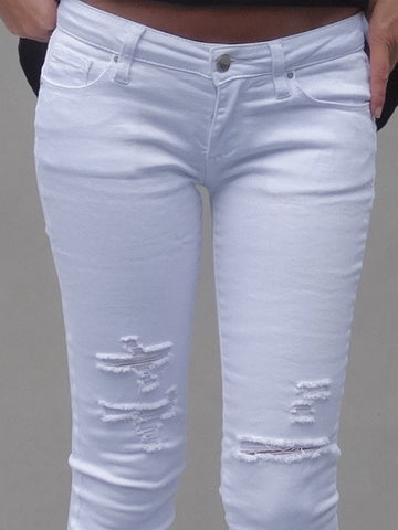 Harper Distressed Skinnies - White