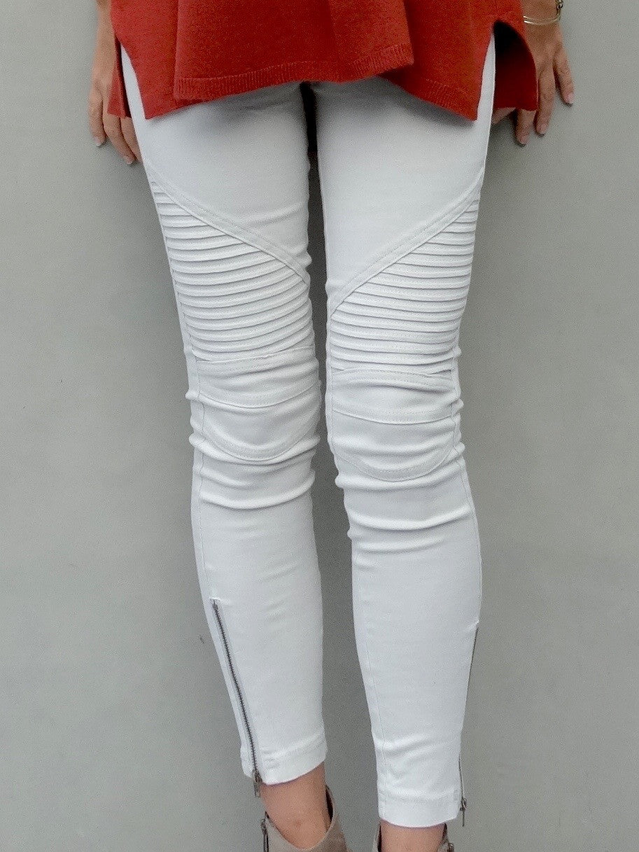 Jayden Moto Jeggings - Very Light Grey