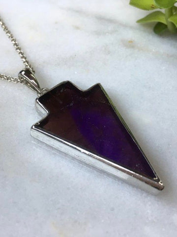 Arrow Pendant Necklace - Amethyst