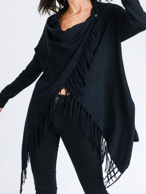 Fringe Cardigan - Black