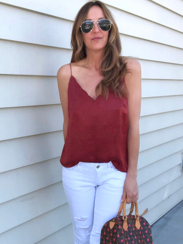Scallop Cami - Maple Red
