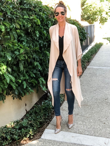 Trench Cardigan - Sand