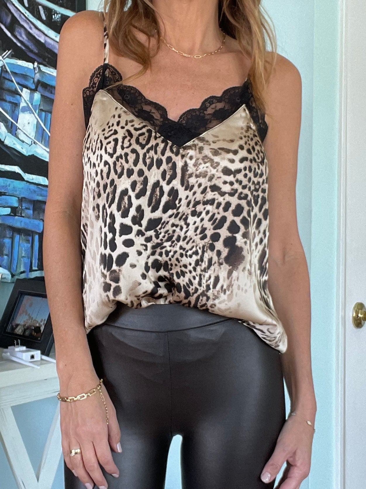 SANDY LEOPARD Cami - Cream