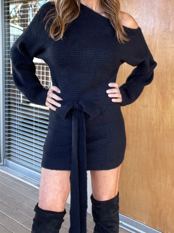 IT'S A WRAP Sweater Dress - Black