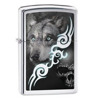 Zippo Classic Wolf & Skull with Tribal Design
