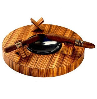 Brizard & Co. Deck Ashtray Triple - Zebra Wood / SOLD