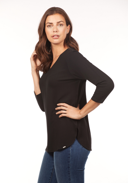 FDJ 1661571 3/4 Sleeve V-Neck Top (Multiple Colors