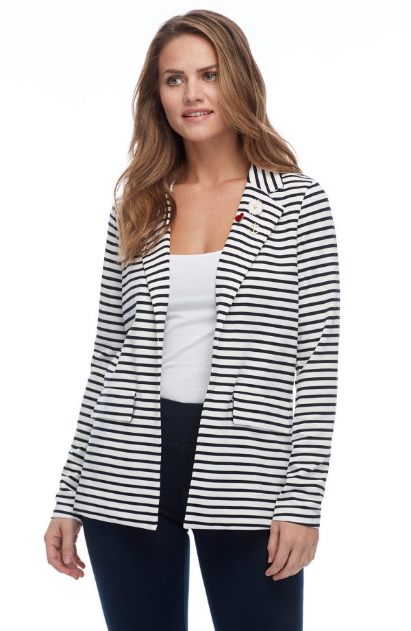 FDJ 1990119 Navy & White Striped Novelty Blazer - Hull