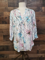 FDJ 1482397 Silver Floral Print Blouse with Pleat Detail - Hull's of Frankfort