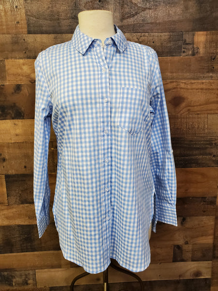 "Tribal 3454o-2698 ""The Shirt"" Gingham Tunic Shirt with Side Slits"