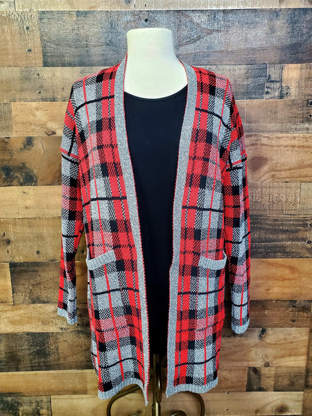 Long Plaid Cardigan, Cotton Country by Parkhurst