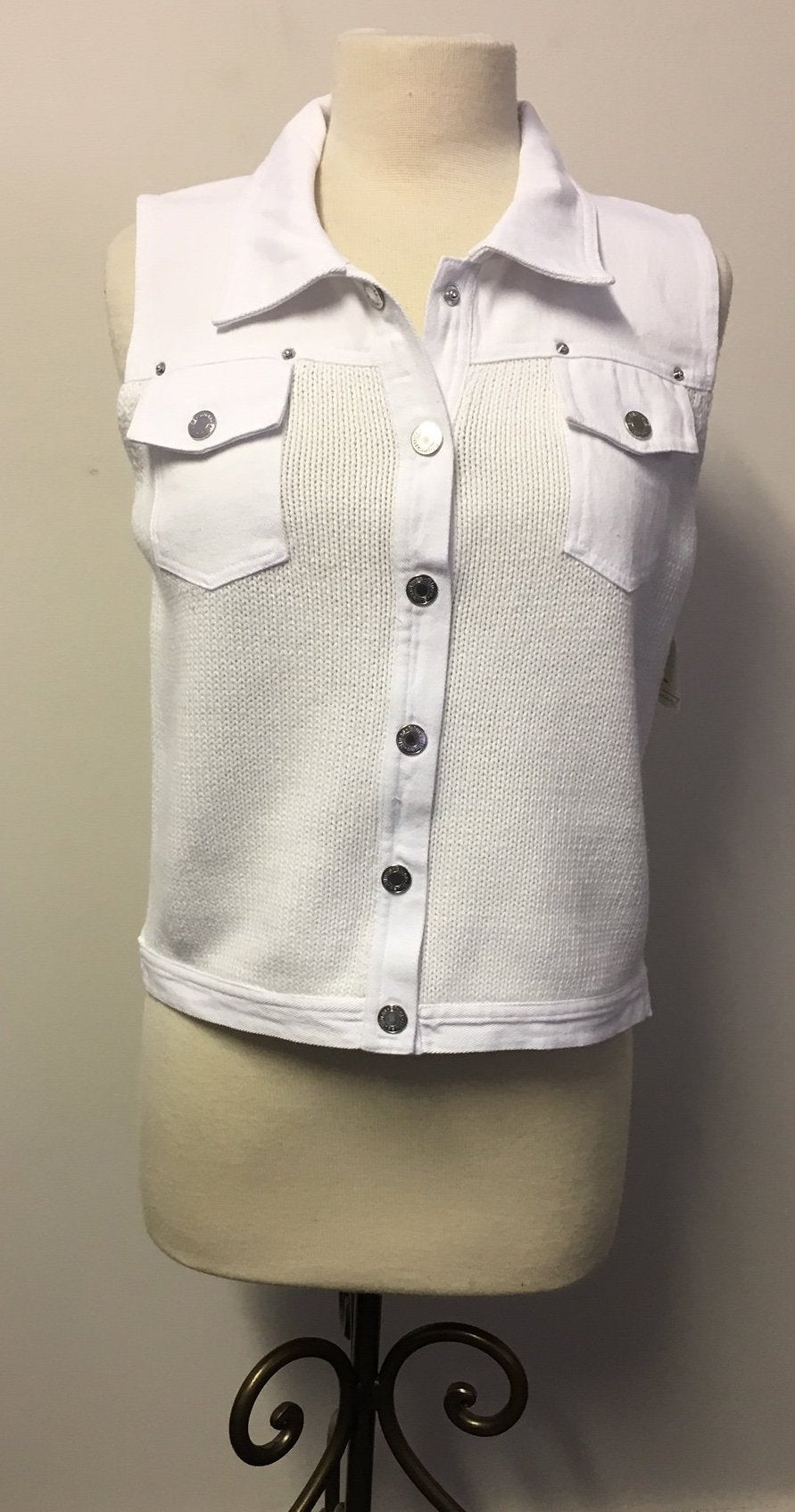 PBJ Blues WHITE Denim & Knit Sweater Vest #BL071 - Hull