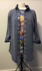 PBJ BLUES Denim & Knit TUNIC Cardigan Sweater #BL264 INDIGO