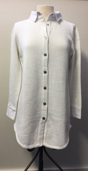 PBJ BLUES WHITE Denim & Knit TUNIC Cardigan Sweater #BL264