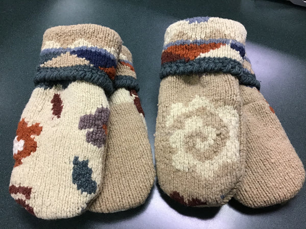Bev's Mittens---Upcycled Wool w/Fleece Glove Lining
