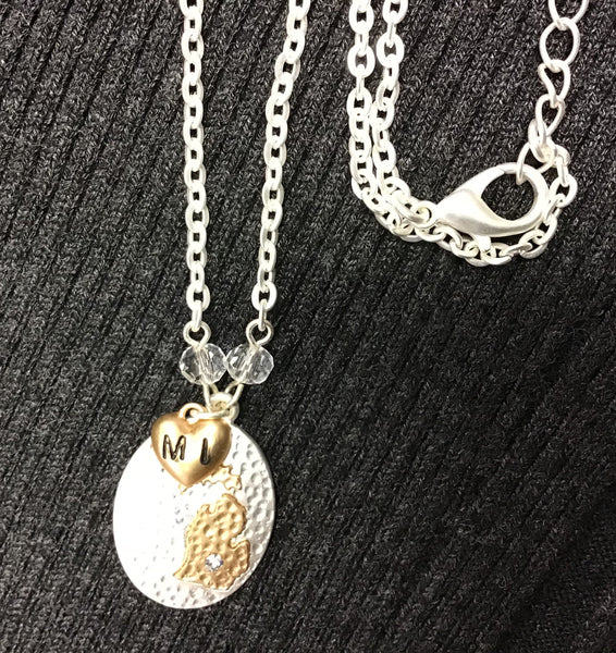"MICHIGAN 16"" Oval Charm Necklace--Silver & gold tone with 2.5"" extender"