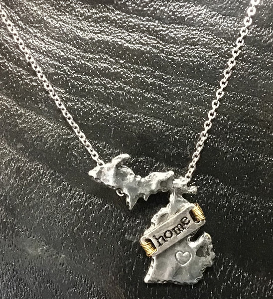 "MICHIGAN 16"" State Shaped ""Home"" Charm Necklace--Silver & gold tone"
