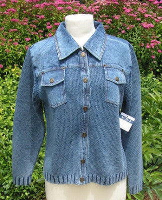 PBJ BLUES INDIGO Snap Front Denim & Knit Cardigan #BL070