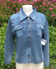 PBJ BLUES INDIGO Snap Front Denim & Knit Cardigan #BL070 - Hull's of Frankfort
