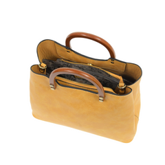 L8047 Angie Vintage Satchel with Wood Handle