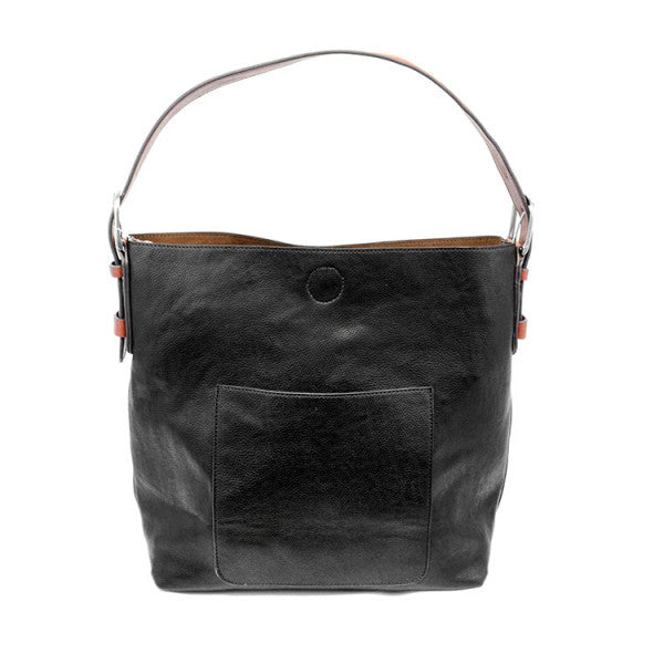JOY SUSAN L8008-00 Black Hobo Cedar Handle Handbag - Hull