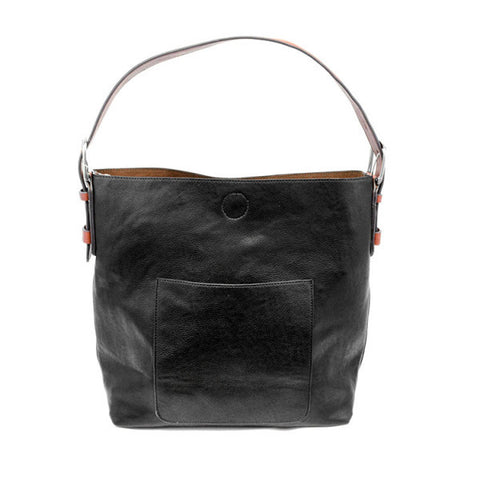 JOY SUSAN Black Hobo Cedar Handle Handbag L8008-00