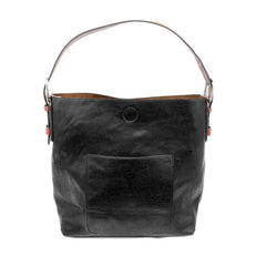JOY SUSAN L8008-00 Black Hobo Cedar Handle Handbag - Hull's of Frankfort