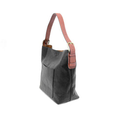 JOY SUSAN Black Hobo Cedar Handle Handbag L8008-00 - Hull's of Frankfort