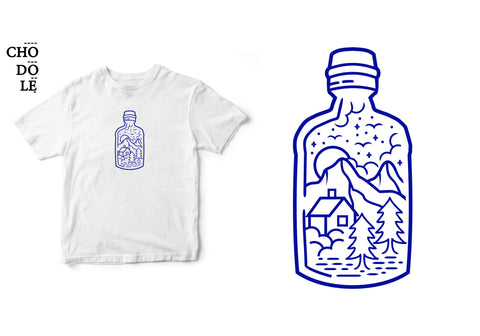 Áo thun unisex cotton 100% in hình Peace in the bottle