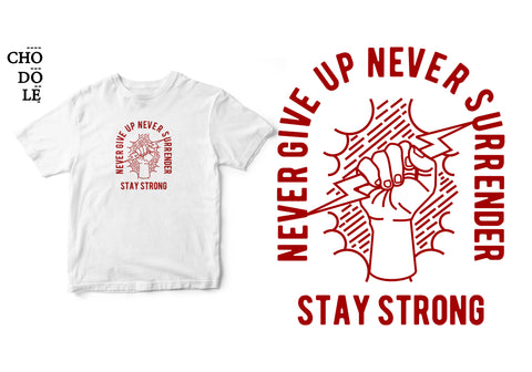 Áo thun unisex cotton 100% in hình Never Give up