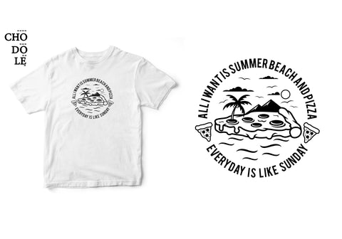 Áo thun unisex cotton 100% in hình All I want is summer, beach and pizza