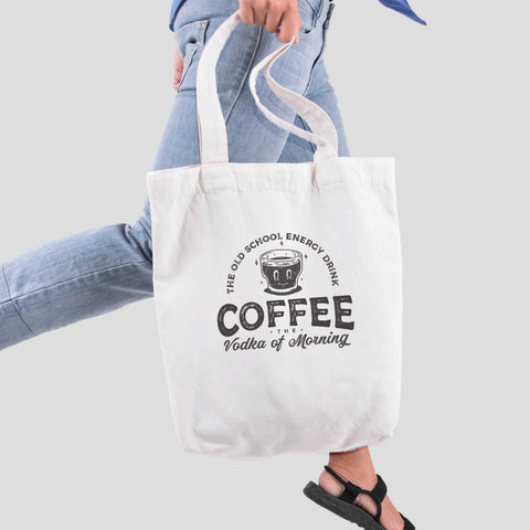 Túi tote vải in hình Coffee Lover Series - Coffee The Vodka of morning (nhiều màu)