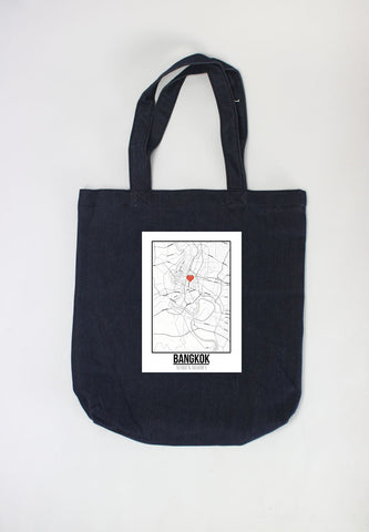 Túi tote in hình Love City Map - Bangkok