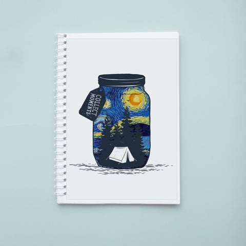 Sổ tay/ notebook in hình Collect Moments not things with Starry Night.